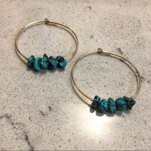 14K Gold Filled Hoops w/ Genuine Turquoise Chips